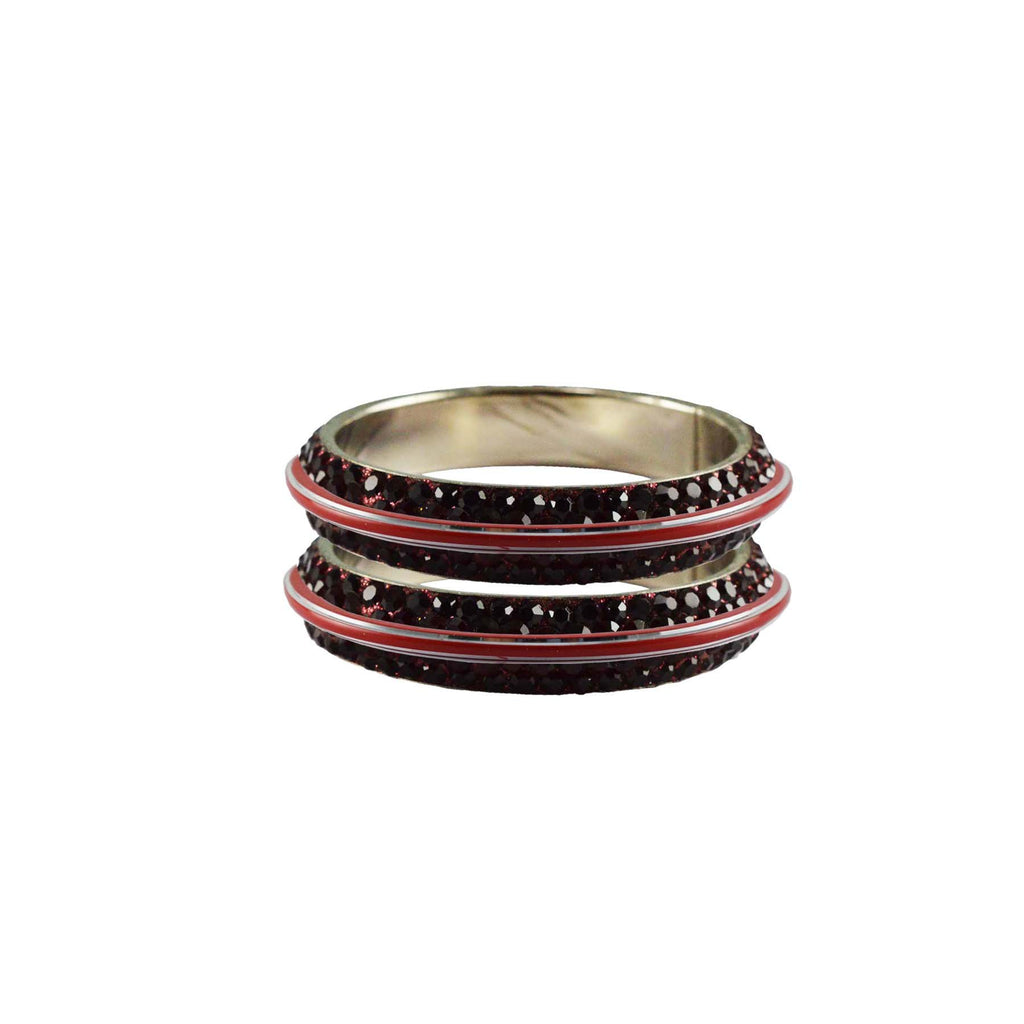 Maroon Color Metal Stone Stud Bangle - ban7979
