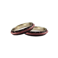 Buy Maroon Color Metal Stone Stud Bangle