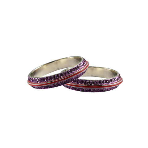 Purple Color Metal Stone Stud Bangle - ban7980