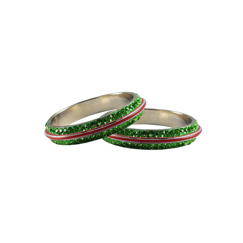 Green Color Metal Stone Stud Bangle - ban7983