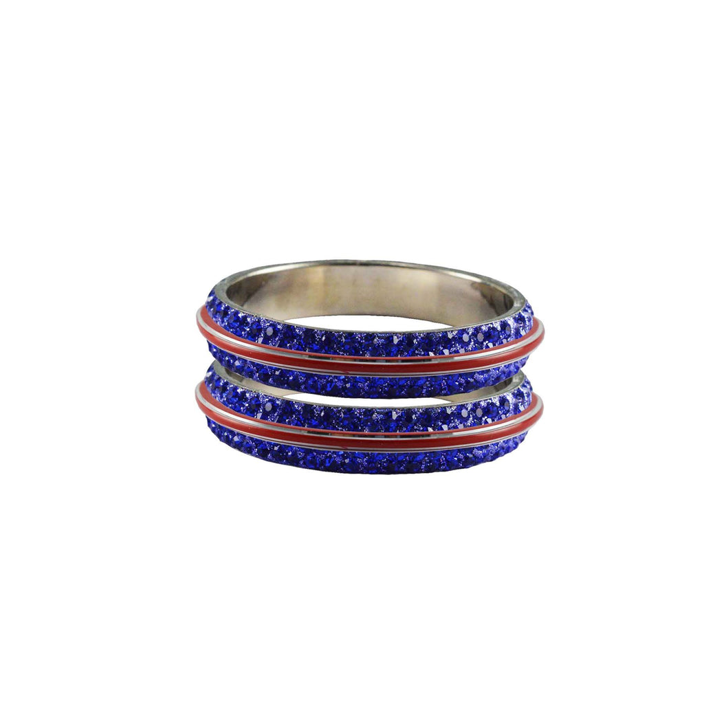 Blue Color Metal Stone Stud Bangle - ban7984
