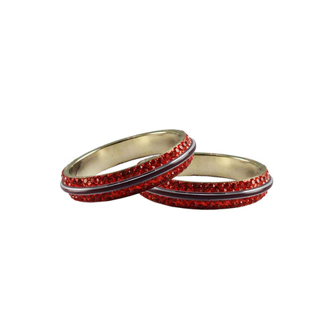 Red Color Metal Stone Stud Bangle - ban7988