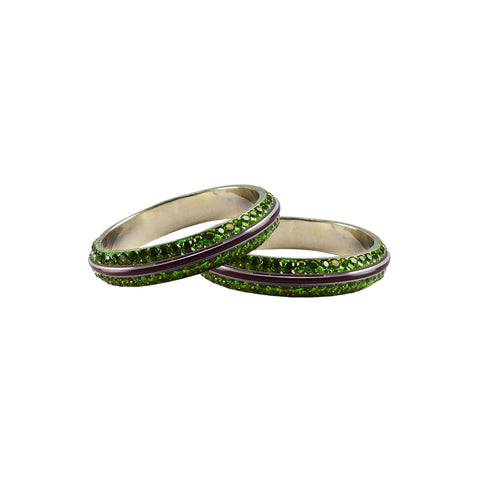 Green Color Metal Stone Stud Bangle - ban7989