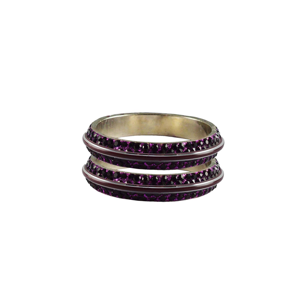 Purple Color Metal Stone Stud Bangle - ban7990