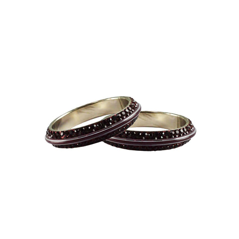 Maroon Color Metal Stone Stud Bangle - ban7991