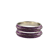 Purple Color Metal Stone Stud Bangle - ban7992