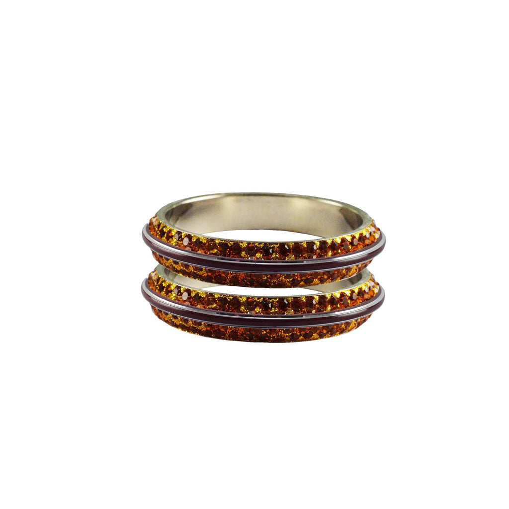 Copper Color Metal Stone Stud Bangle - ban7994