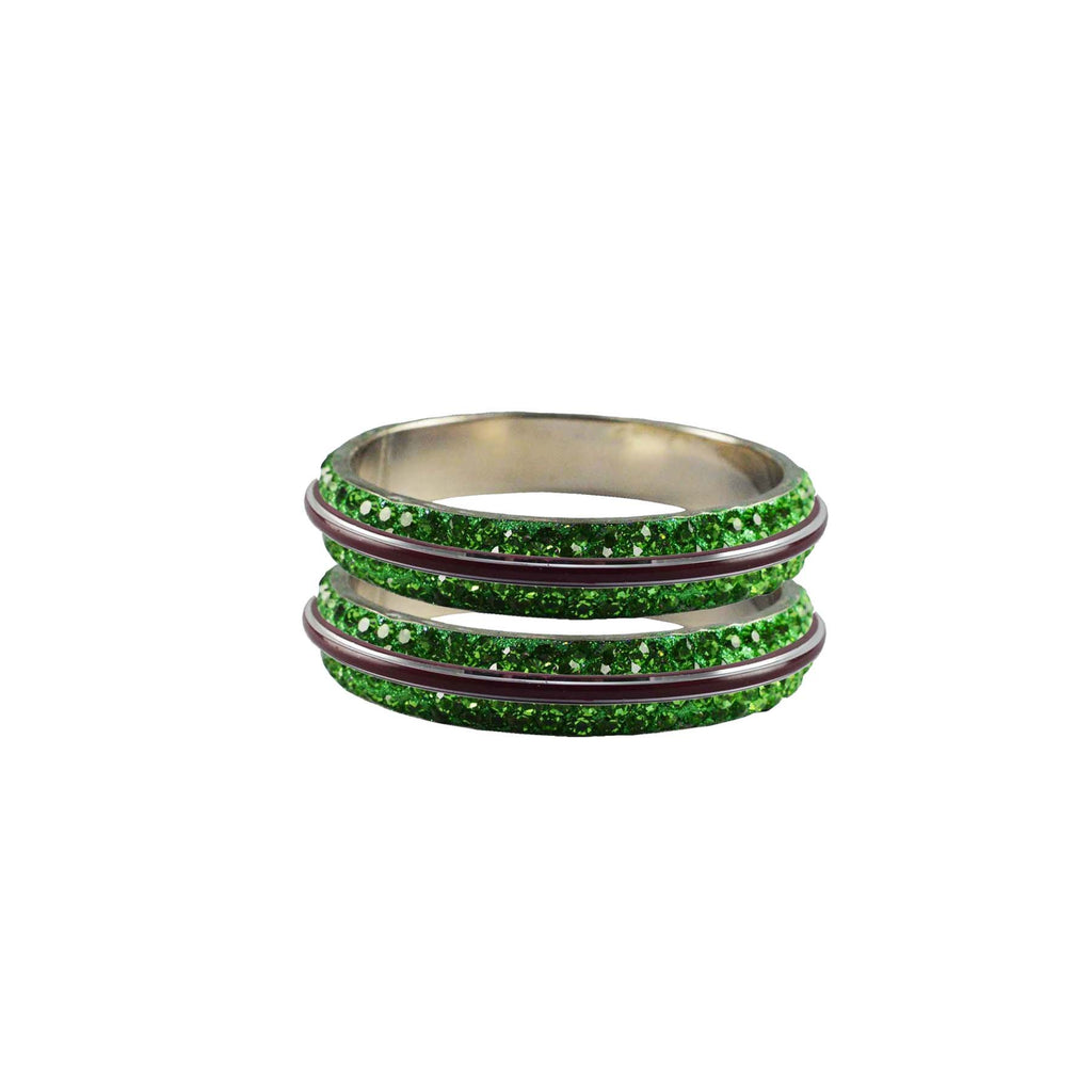 Green Color Metal Stone Stud Bangle - ban7995