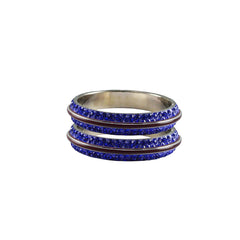 Blue Color Metal Stone Stud Bangle - ban7996