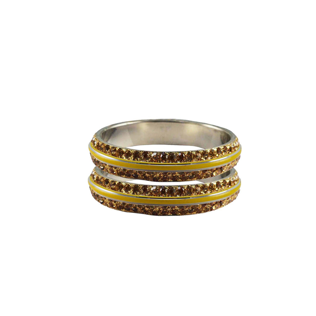 Golden Color Metal Stone Stud Bangle - ban7999