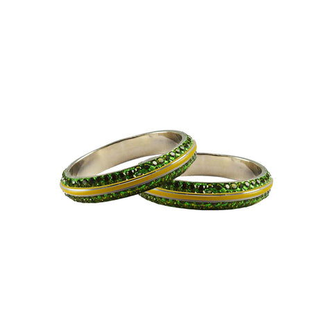 Green Color Metal Stone Stud Bangle - ban8002
