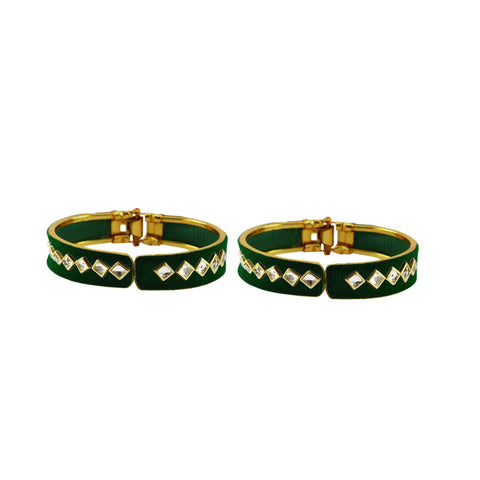 Green Color Stone Stud Brass Bangle - ban8861