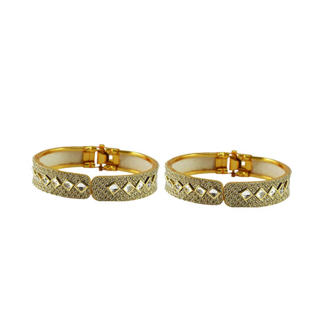 Golden Color Stone Stud Brass Bangle - ban8862