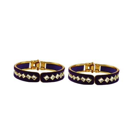 Blue Color Stone Stud Brass Bangle - ban8863