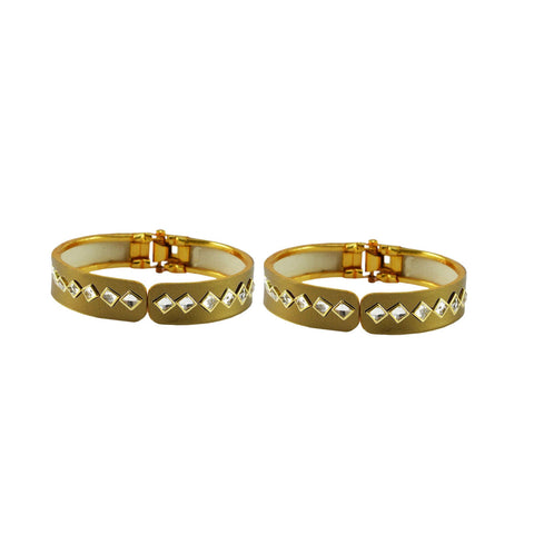 Golden Color Stone Stud Brass Bangle - ban8864