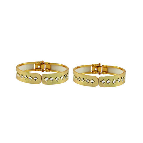 Golden Color Stone Stud Brass Bangle - ban8868