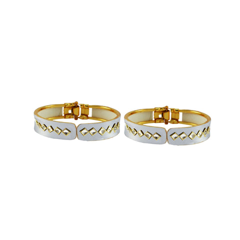 White Color Stone Stud Brass Bangle - ban8869