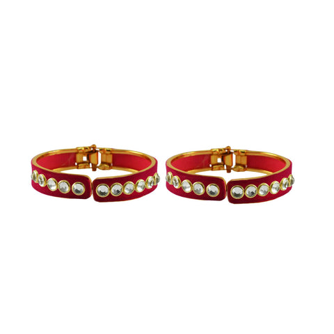 Rani Color Stone Stud Brass Bangle - ban8870