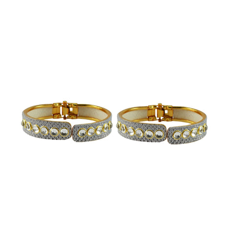 White Color Stone Stud Brass Bangle - ban8871