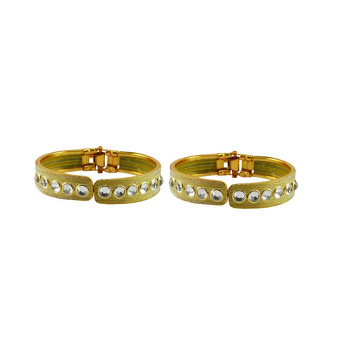 Golden Color Stone Stud Brass Bangle - ban8872