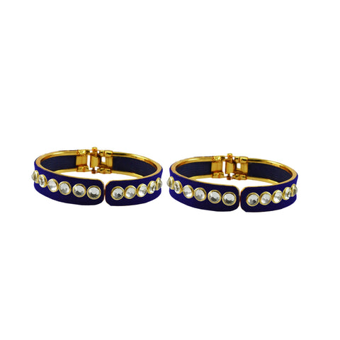 Blue Color Stone Stud Brass Bangle - ban8873