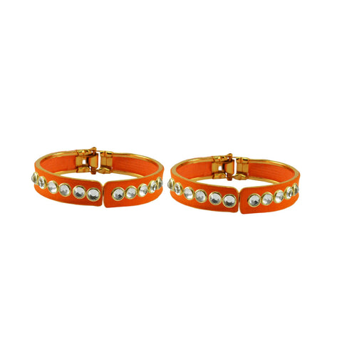 Orange Color Stone Stud Brass Bangle - ban8874