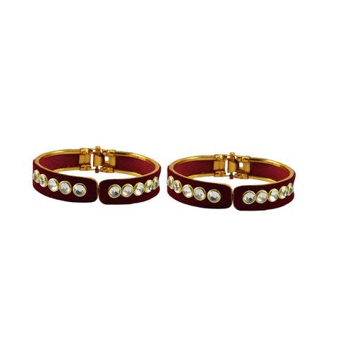 Maroon Color Stone Stud Brass Bangle - ban8875