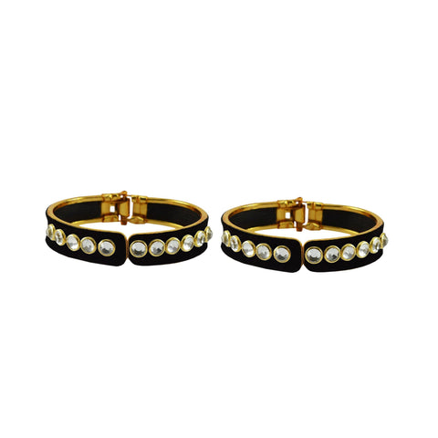 Black Color Stone Stud Brass Bangle - ban8876