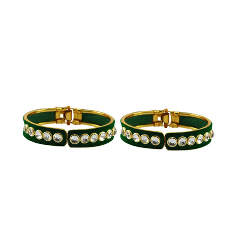 Green Color Stone Stud Brass Bangle - ban8877