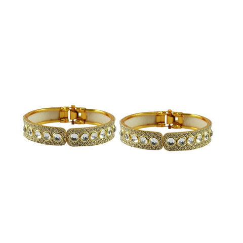 Golden Color Stone Stud Brass Bangle - ban8878