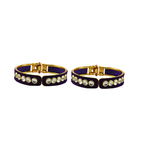 Blue Color Stone Stud Brass Bangle - ban8879