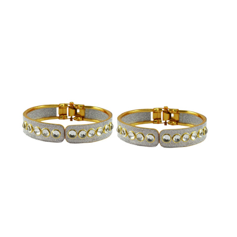 White Color Stone Stud Brass Bangle - ban8881
