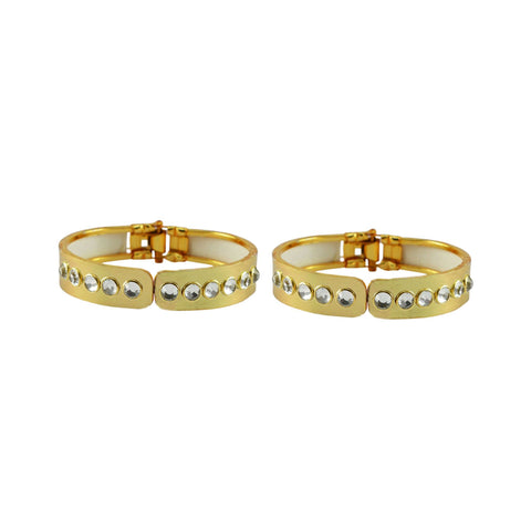 Golden Color Stone Stud Brass Bangle - ban8884