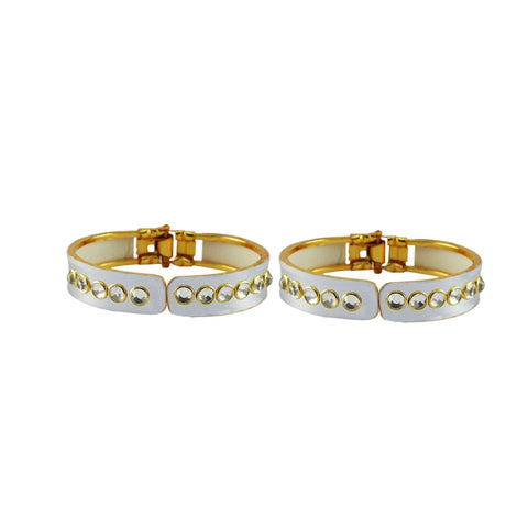 White Color Stone Stud Brass Bangle - ban8885