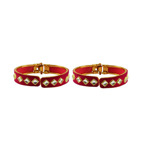 Rani Color Stone Stud Brass Bangle - ban8886