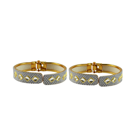 White Color Stone Stud Brass Bangle - ban8887