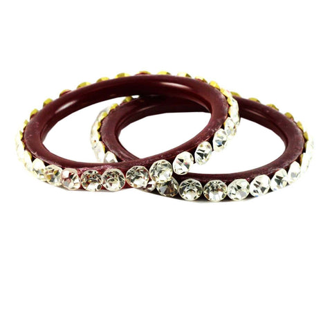 Red Color Stone Stud Acrylic-Brass Bangle - ban901