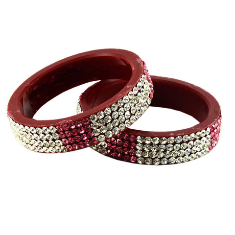 Red Color Stone Stud Acrylic-Brass Bangle - ban919
