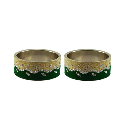 Multi Color Stone Stud Brass Bangle - ban9398