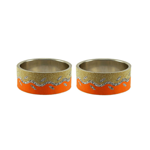 Multi Color Stone Stud Brass Bangle - ban9399