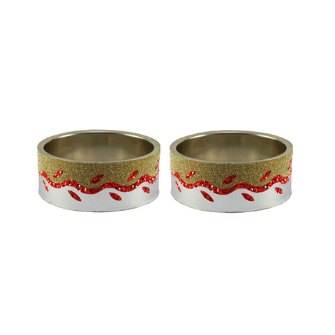 Multi Color Stone Stud Brass Bangle - ban9400