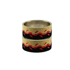 Multi Color Stone Stud Brass Bangle - ban9401