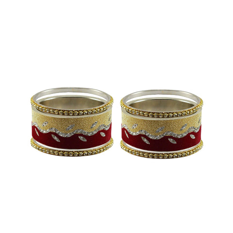 Multi Color Stone Stud Brass Bangle - ban9418