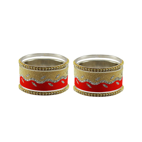 Multi Color Stone Stud Brass Bangle - ban9419