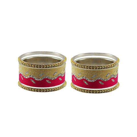 Multi Color Stone Stud Brass Bangle - ban9420