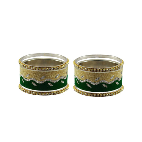 Multi Color Stone Stud Brass Bangle - ban9421