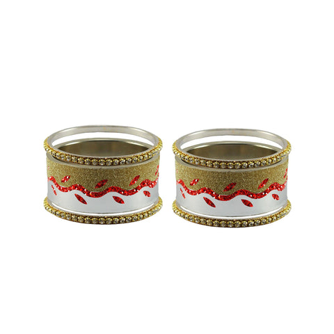 Multi Color Stone Stud Brass Bangle - ban9423