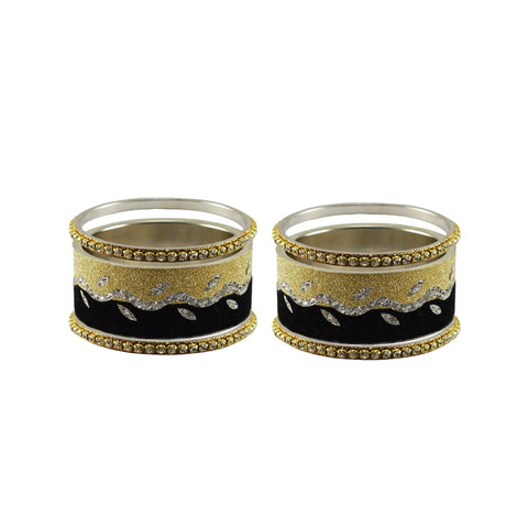 Multi Color Stone Stud Brass Bangle - ban9424