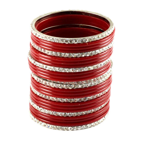 Red Color Stone Stud Acrylic-Brass Bangle - ban974