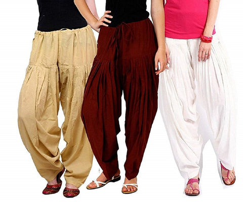 COMBOS  - Beige And Maroon And White Color Cotton Stitched Women Patiala Pants - beige_maroon_white